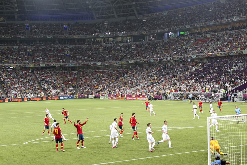 EURO 2012. Spain vs. France stock photography