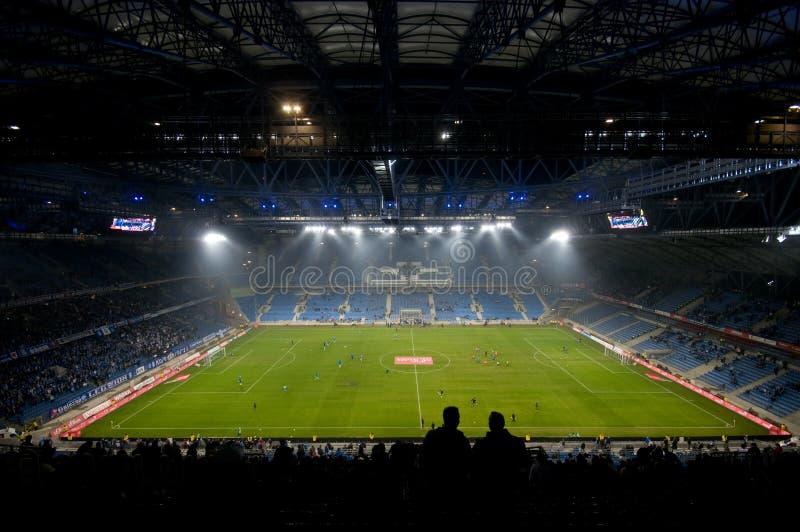 Euro 2012 stadium. Poznan, Poland. POZNAN - NOVEMBER 20: Stadion Miejski stadium, an Euro 2012 arena before a league match Lech Poznan vs Polonia Bytom on stock photography