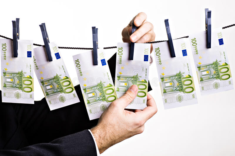 Euro. Symbolic picture with euros for money washing stock photography