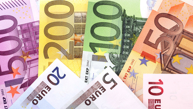 Euro. All Euro-banknotes in a row stock photo