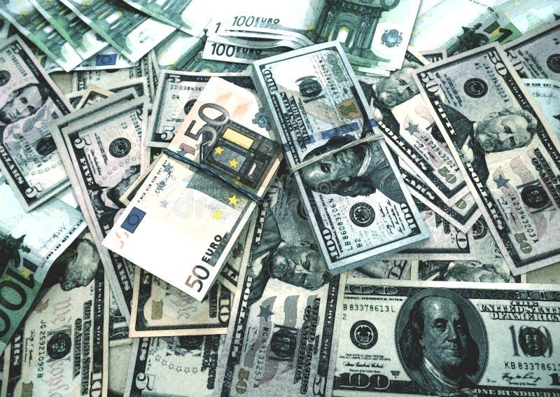 Euro acquerello di schizzo del fondo dei dollari dei soldi fotografie stock