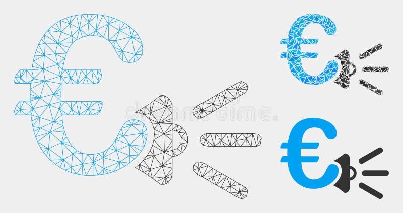 Euro Advertentiesmegafoon Vector het Mozaïekpictogram van Mesh Wire Frame Model en van de Driehoek vector illustratie