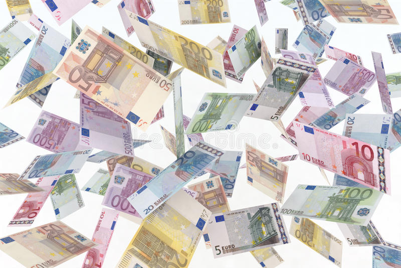 Euro in the air. Illustration of euro banknotes flying stock photography
