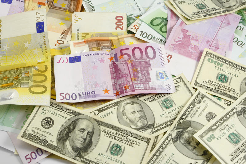 Euro and american money stock images
