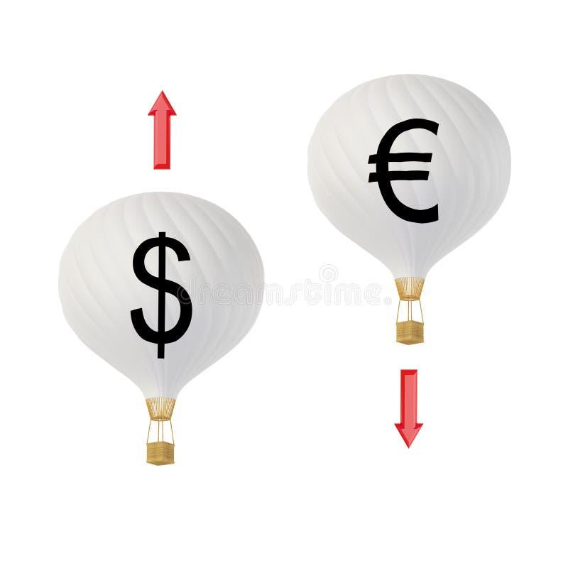Euro & Dollar: boven en beneden vector illustratie
