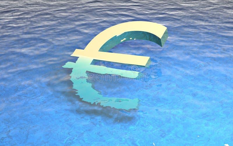 euro annegamento 3d in acqua fotografia stock libera da diritti