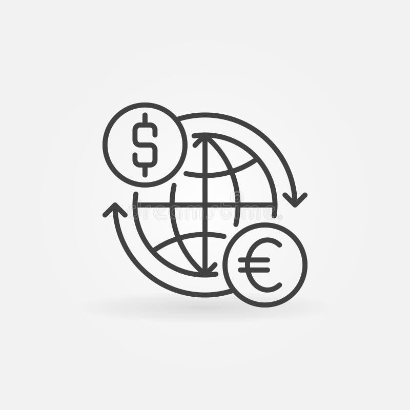 Euro ao ícone do converso do dólar ilustração do vetor