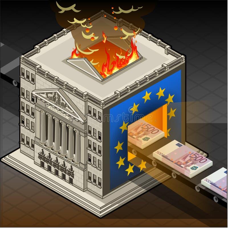 Euro ardiendo isométrico de la bolsa  ilustración del vector