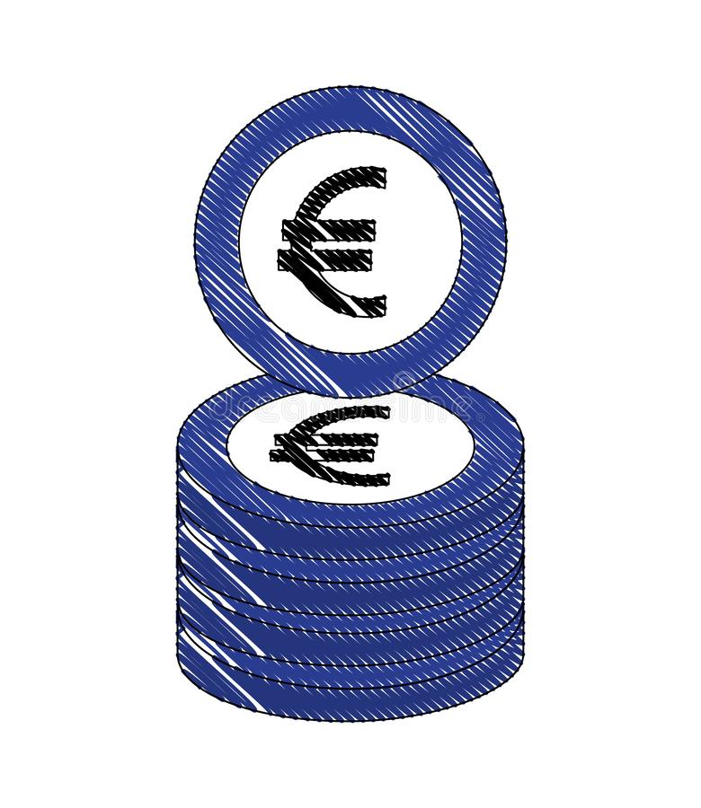 Euro argent empilé de pièces de monnaie de devise illustration stock