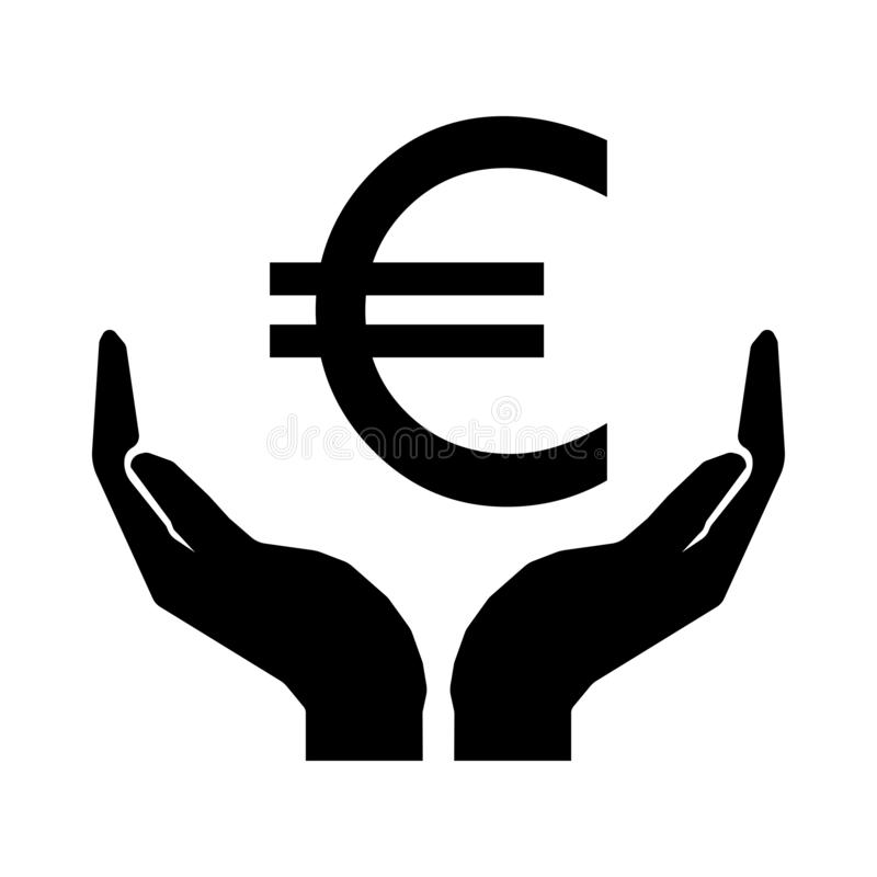 Euro argent et mains illustration stock