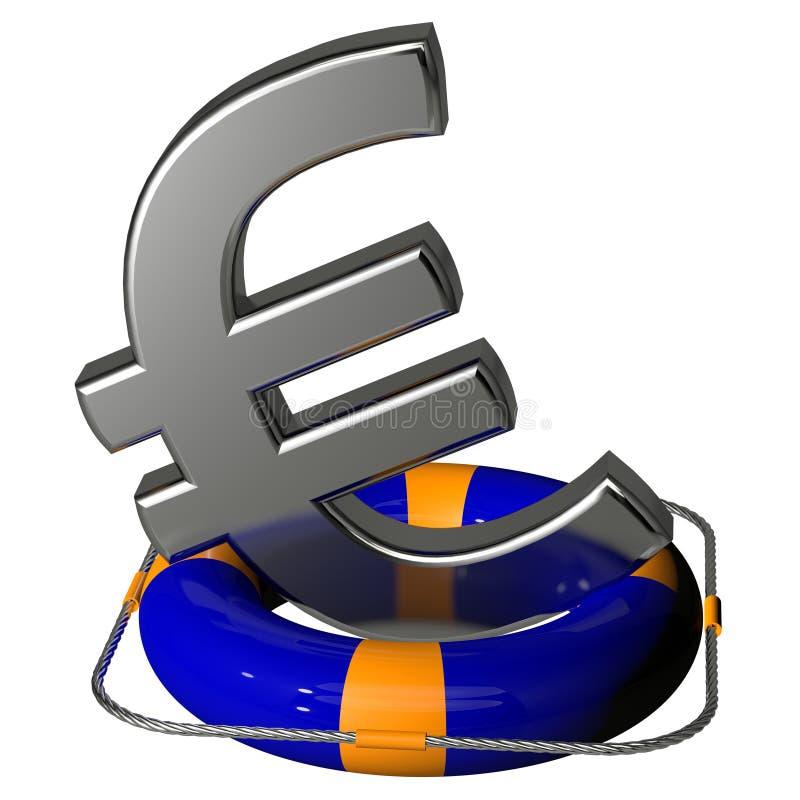 Euro argento di simbolo sul blu del pontone di salvagente royalty illustrazione gratis