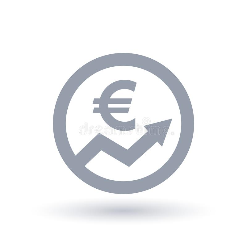 Euro Arrow Icon European Currency Progress Symbol Stock Vector