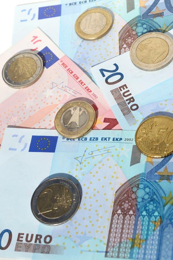 Euro av olika värden arkivbild