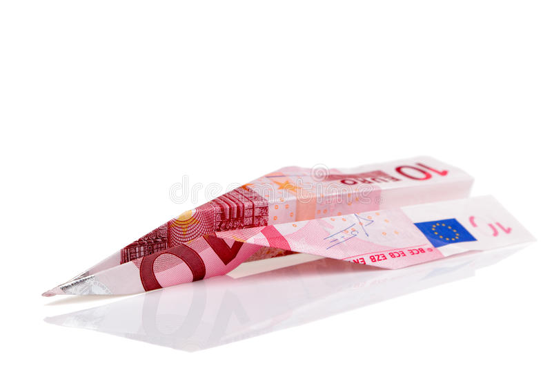 Euro Avion De Billet De Banque Images stock