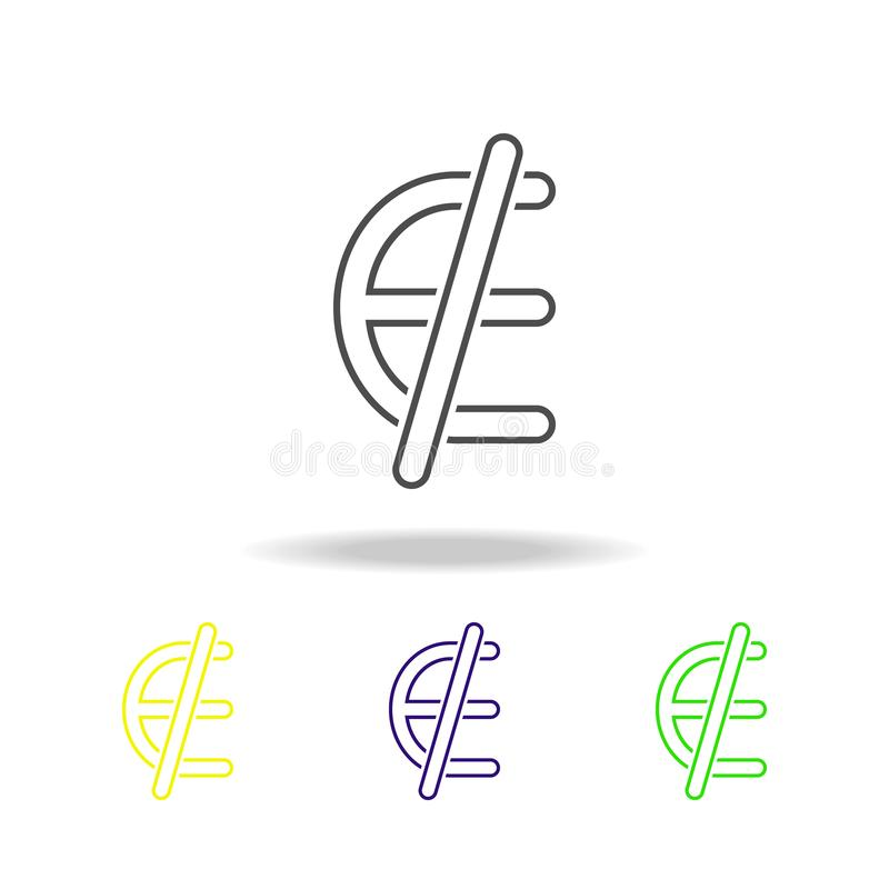 Euro ban denomination multicolored icons. Thin line icon for website design and app development. Premium colored web icon with sha vector illustration