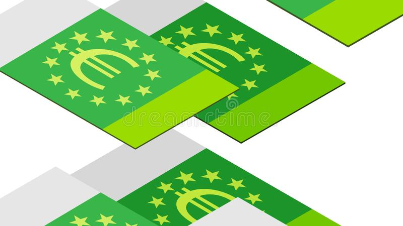 Euro banconote che cadono in un mucchio su un fondo bianco, isometrico, isolato illustrazione vettoriale