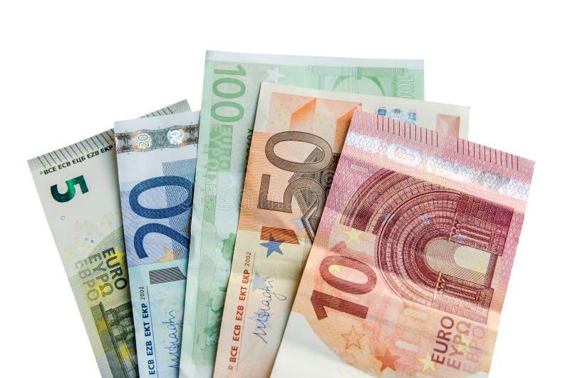 euro banconote con la denominazione differente e le monete fotografia stock