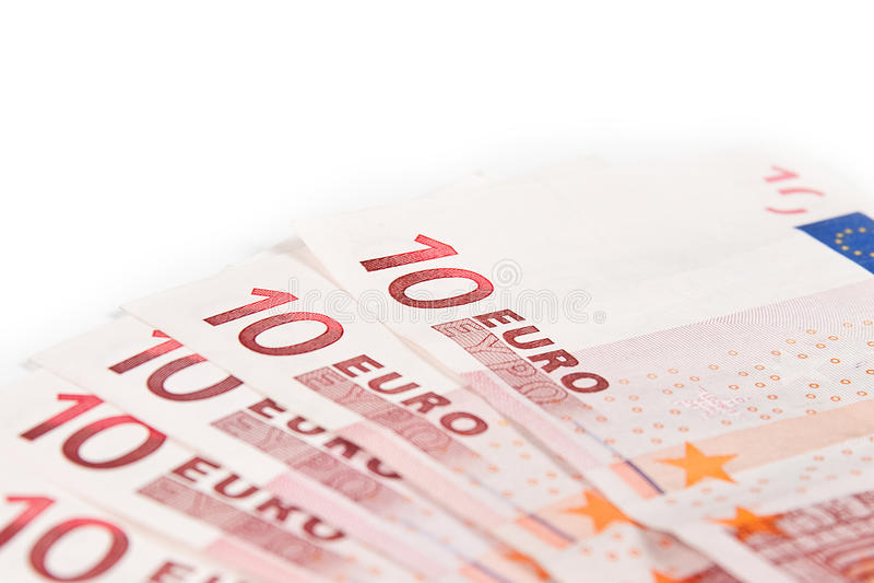 Euro banconote del primo piano 10 immagini stock