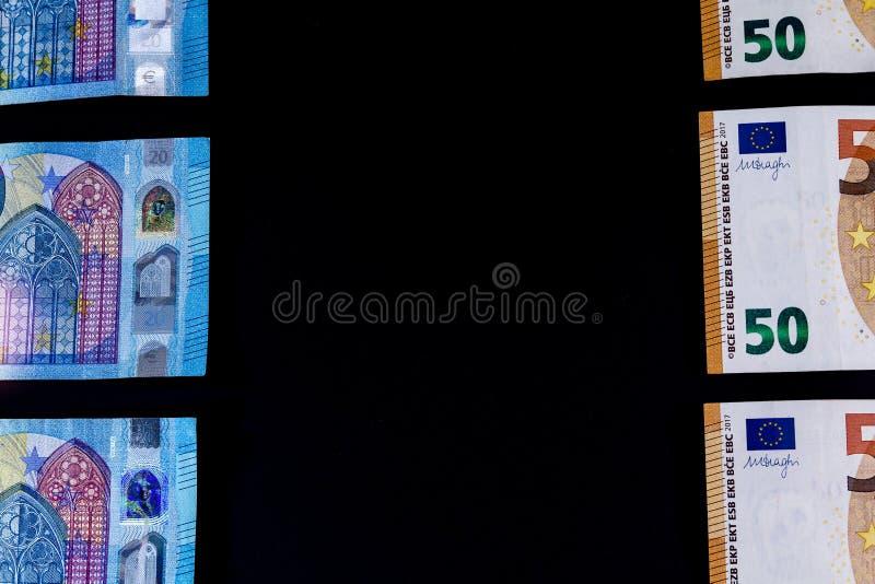 Euro banconote di valore dei soldi, sistema di pagamento dell'Unione Europea fotografia stock