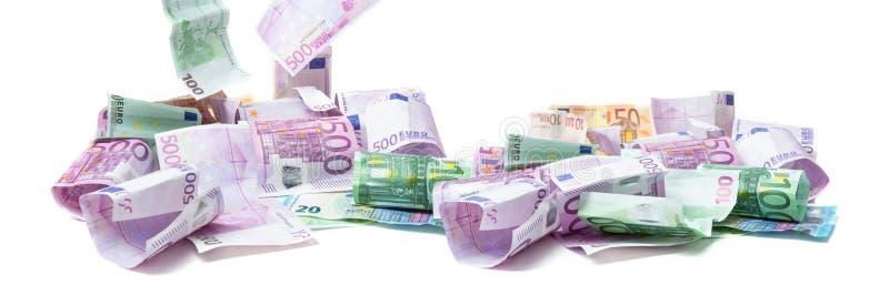 Euro baner, pengarräkningar som isoleras arkivfoton