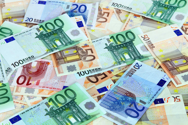 Euro bank notes. Scattered euro bank notes background stock images