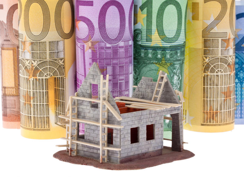 Euro bank notes with shell house
