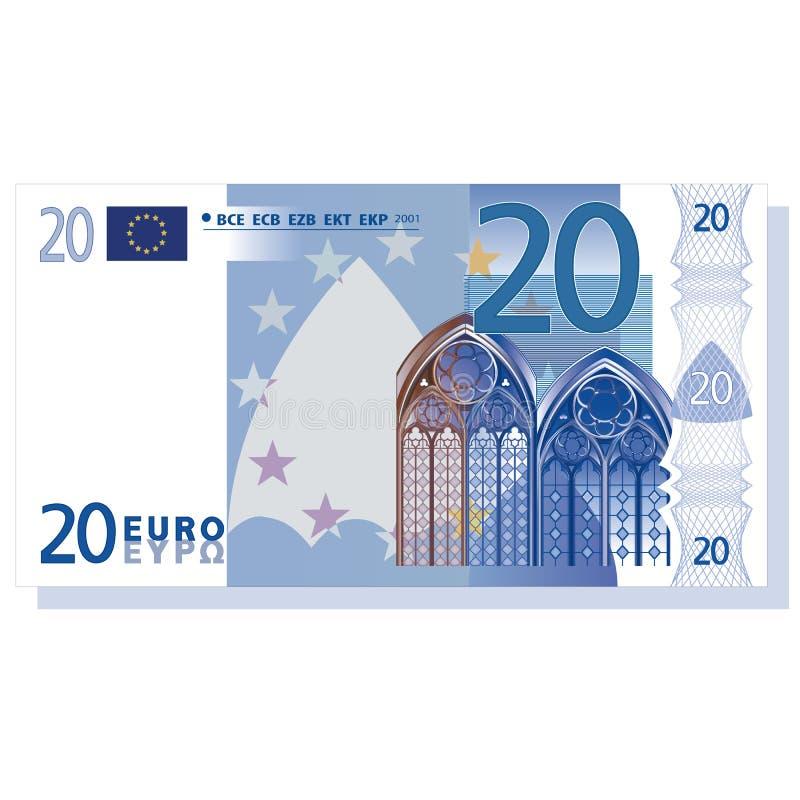 euro bankbiljet 20 vector illustratie