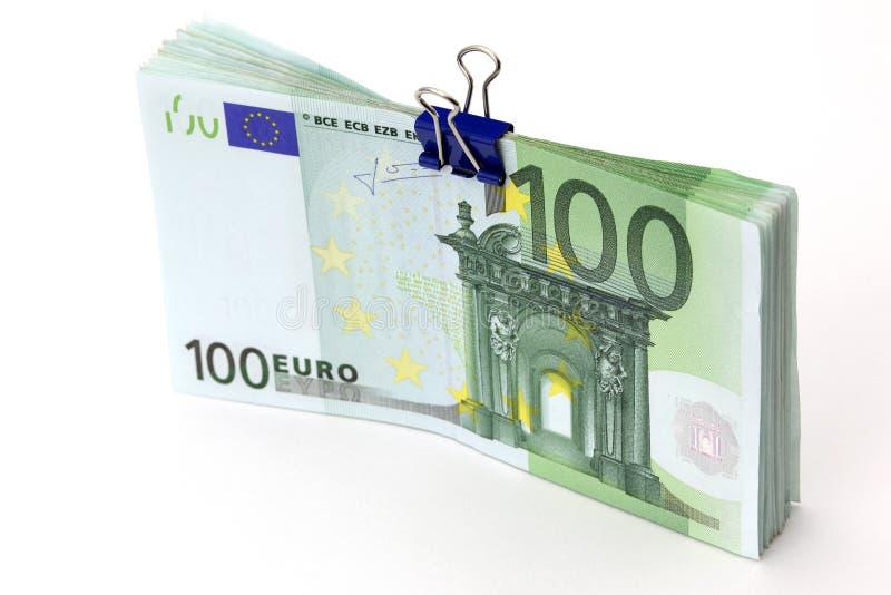 Euro bankbiljetten met bindmiddelenklem royalty-vrije stock foto