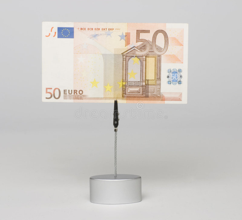 Euro banknote. Face of euro banknote in the holder stock image