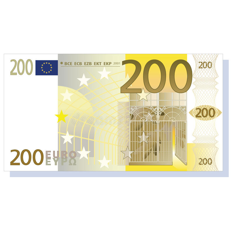 Euro banknote. 200 euro banknote vector illustration isolated over white background