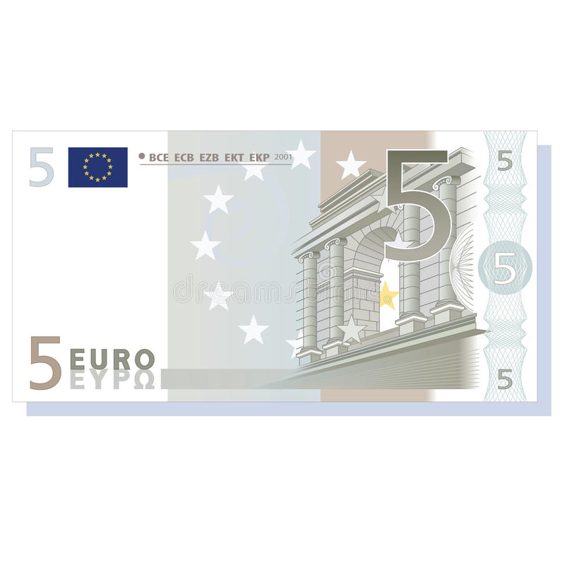 Euro banknote. 5 euro banknote vector illustration isolated over white background