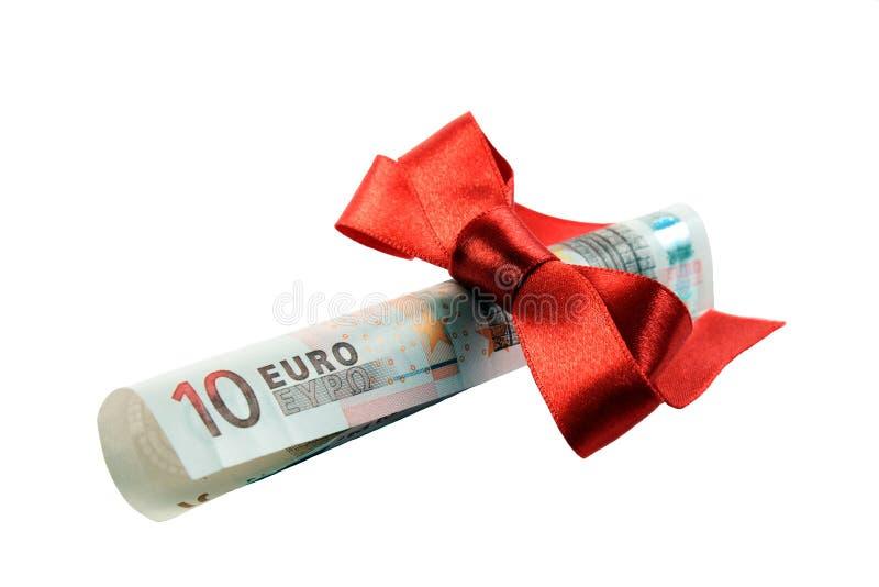 Euro banknote as Christmas gift stock photo