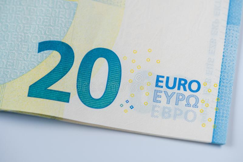20 euro banknote - Detail. Detail of 20 euro - EUR - paper banknote royalty free stock photo