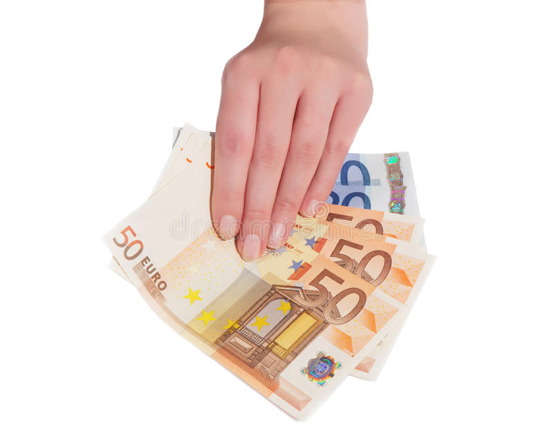 Euro banknote in female hand. Closeup isolated stock photography