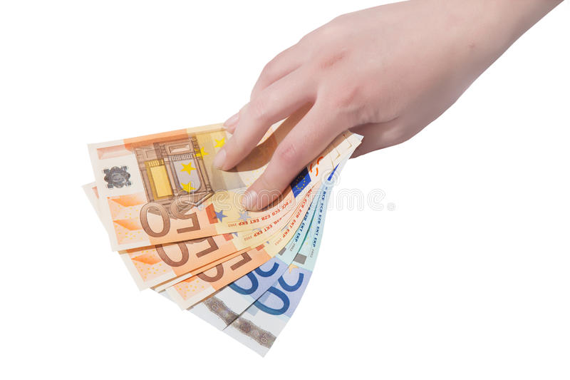 Euro banknote in female hand. Closeup isolated royalty free stock image