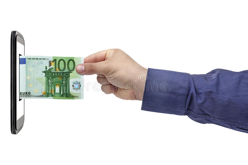 Euro Banknote Hand Smartphone Banking Isolated. Male hand inserting or withdrawl 100 euro banknote in smartphone blank screen isolated on white blackboard stock photography