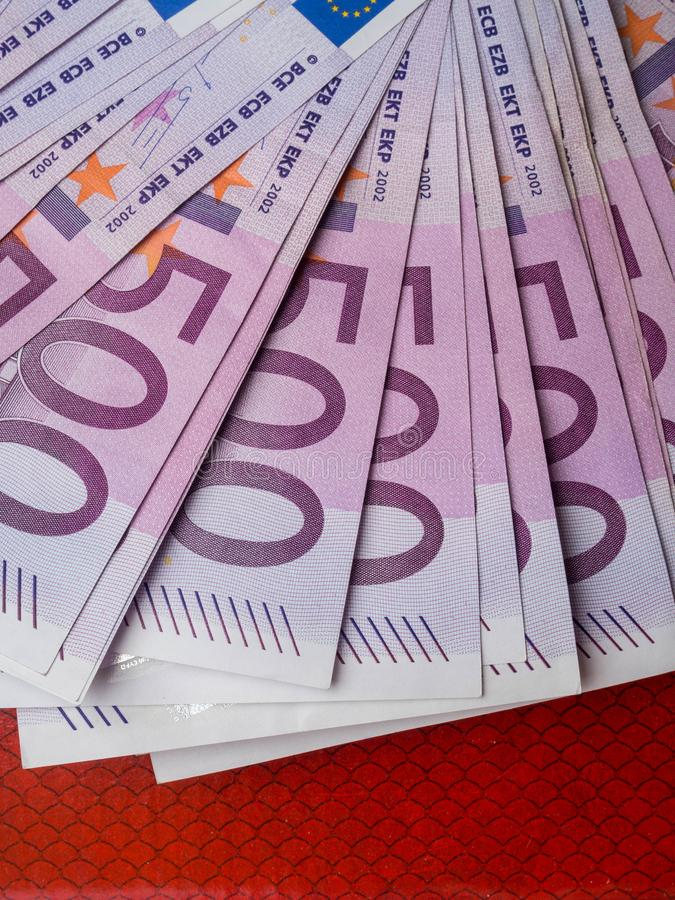 500 euro banknote isolated on red background, finance concept. cash, close up. Money background (500 euro version), finance concept close up royalty free stock photography
