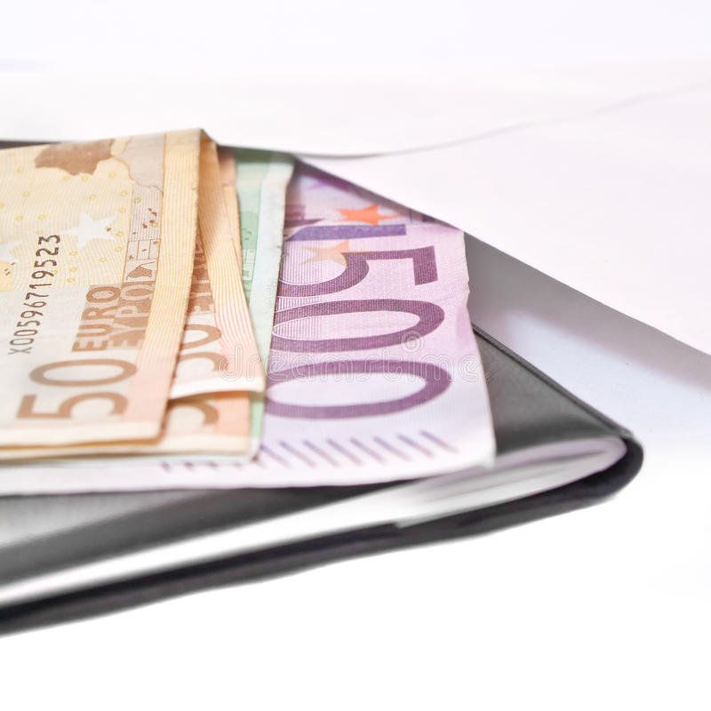 Euro banknote in a letter envelope. stock images