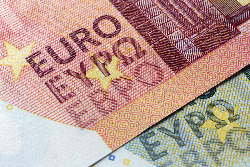 Euro banknote, particular, editorial use. Original macro photo euro banknote, editorial usage stock images