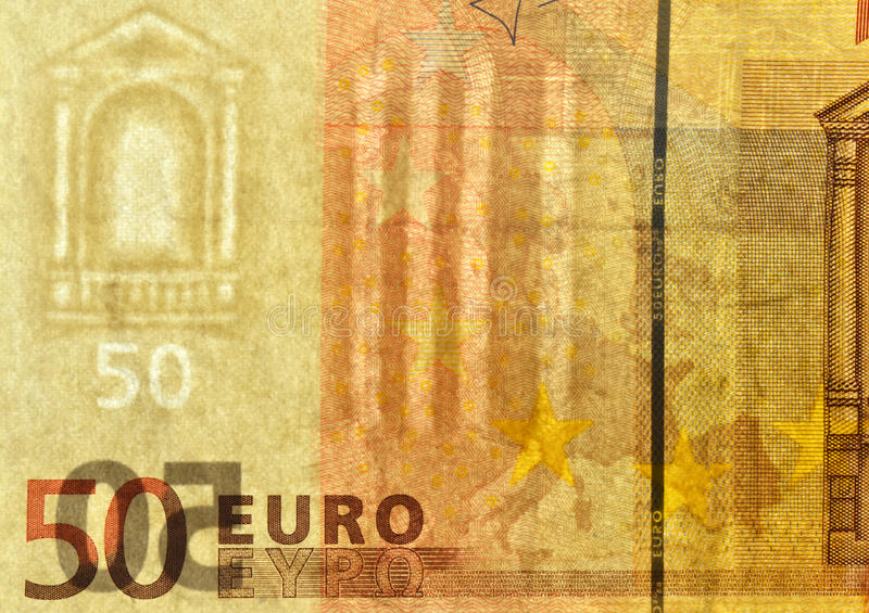 Euro banknote protections. Watermark on fifty euro banknote. There is also vertical security strip inside paper on the right and bottom the banknote micro stock photos