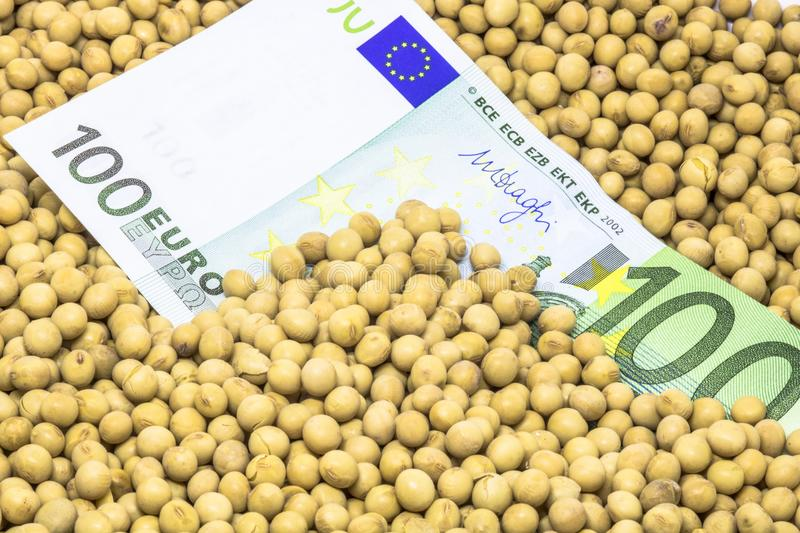 Euro banknote with soybean seeds background. Agricultural concept, soybean at 100 Euro banknote royalty free stock photography