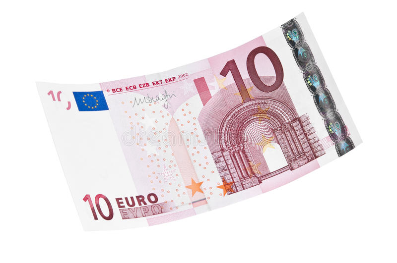 10 euro banknote. On white background stock photography