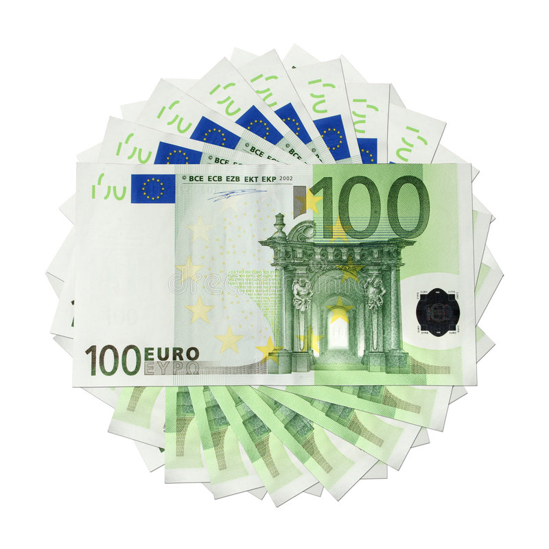 Euro banknotes. One hundred Euro banknotes, isolated