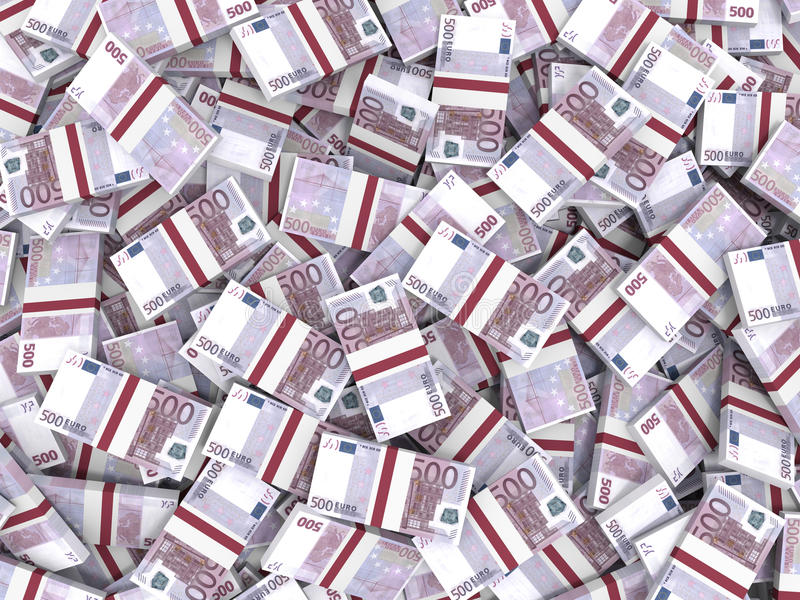 Euro banknotes background. Five hundred euro banknotes background. 3D illustration stock illustration