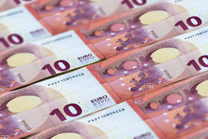 Euro banknotes background. Money of European Union stock photo