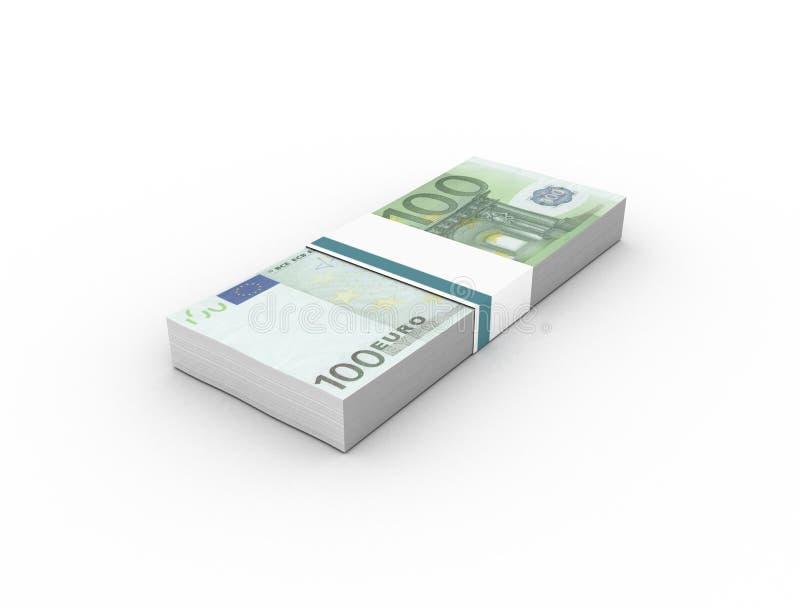 100 euro banknotes bills bundles royalty free illustration