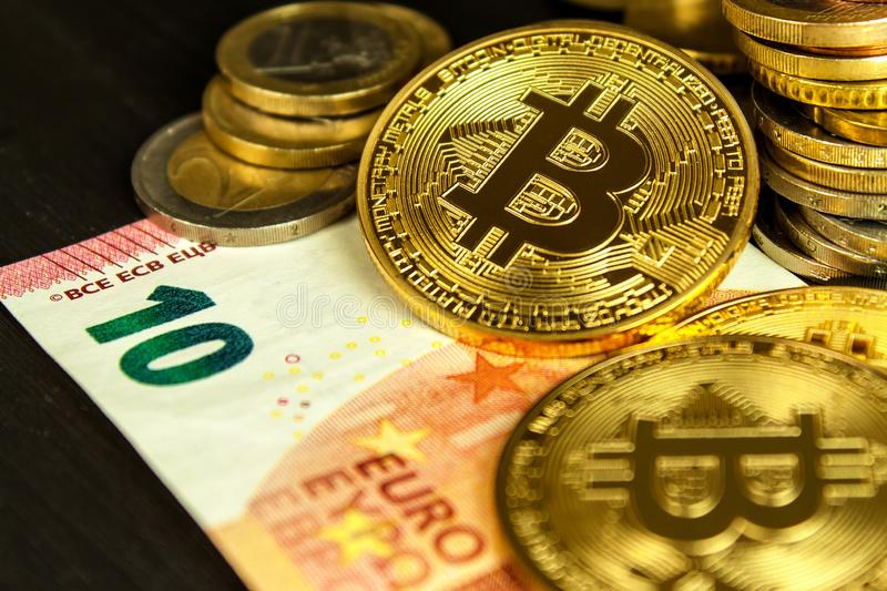 Cryptocurrency Bitcoins And Euro Coins In A White Background Stock Image - Image of money ...