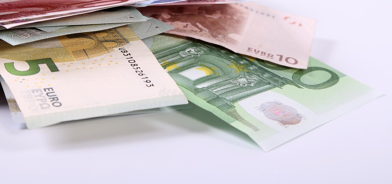 Euro banknotes close up, European currency.  royalty free stock image