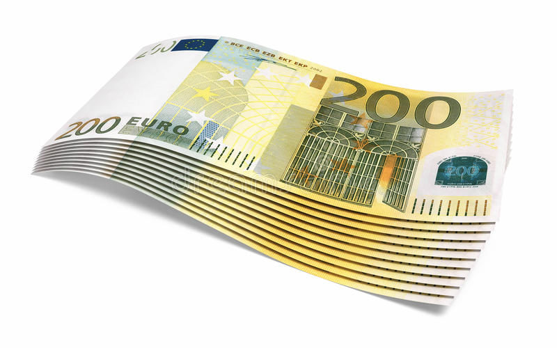 200 euro banknotes close-up. Two hundred euro banknotes close-up ( on white and clipping path royalty free illustration
