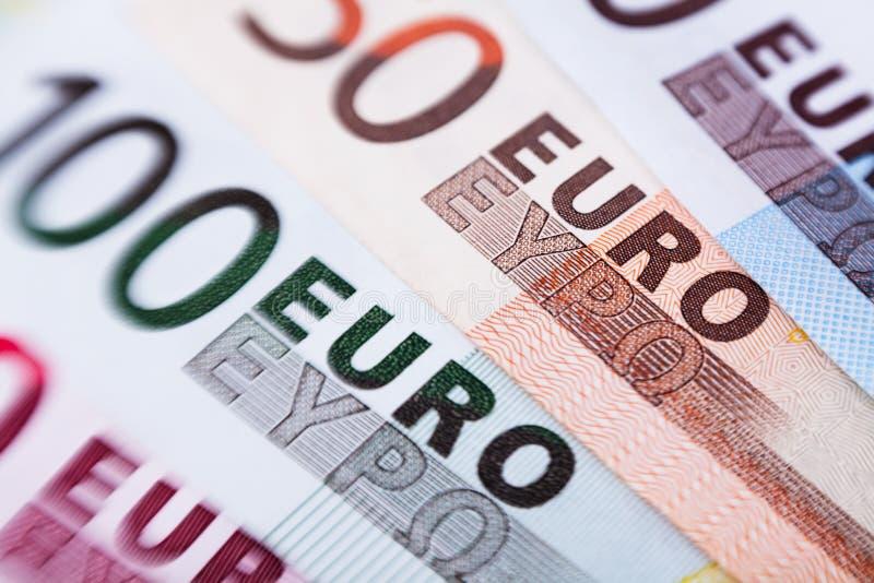 Euro banknotes closeup stock photo